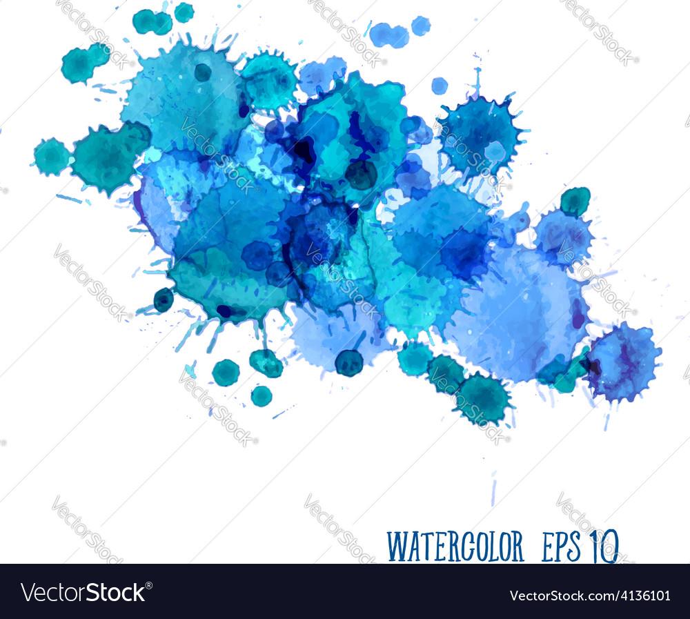 Watercolor Splashes Set isolated on white