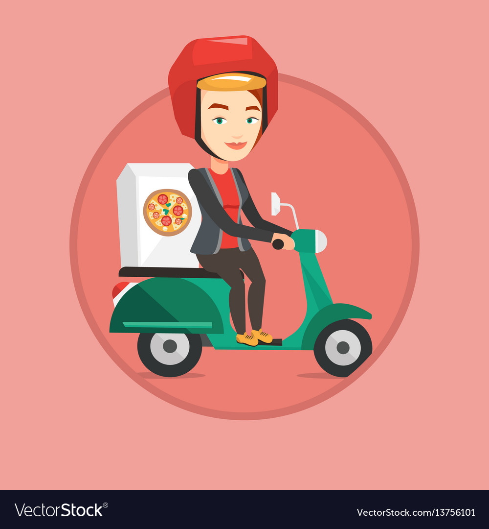 Woman delivering pizza on scooter