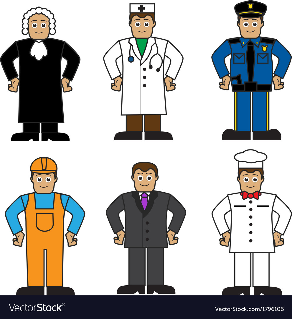 Cartoon set of people of different professions vector image