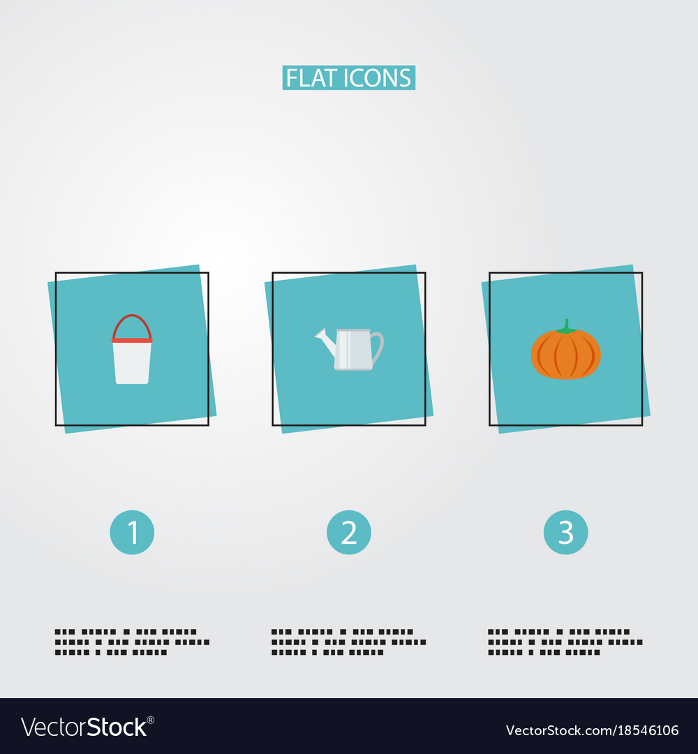 Flat icons gourd bailer pail and other vector image
