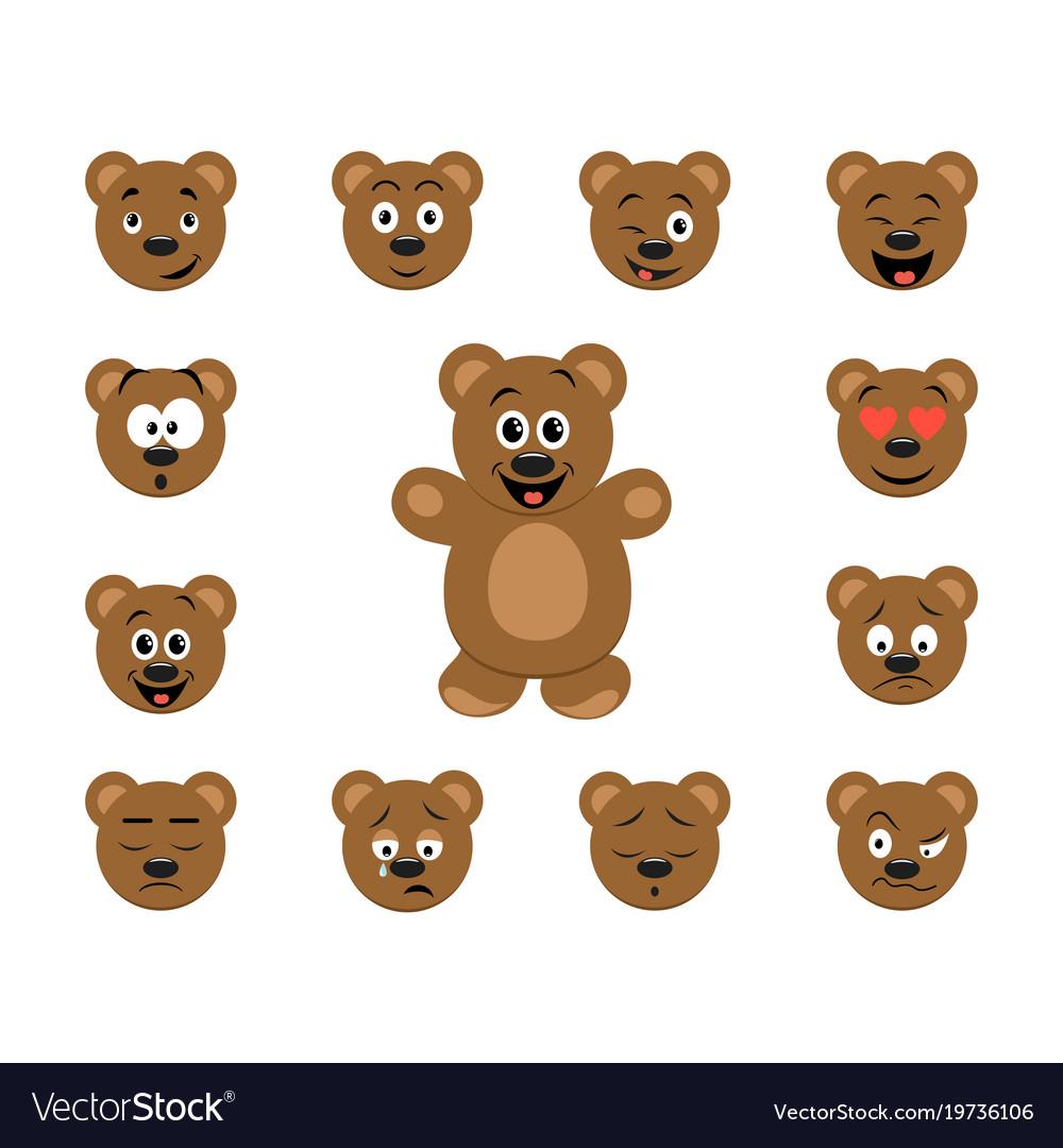 Funny cartoon bear emoticon set