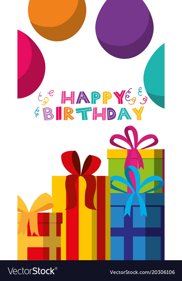 Happy Birthday Card With Kids Royalty Free Vector Image