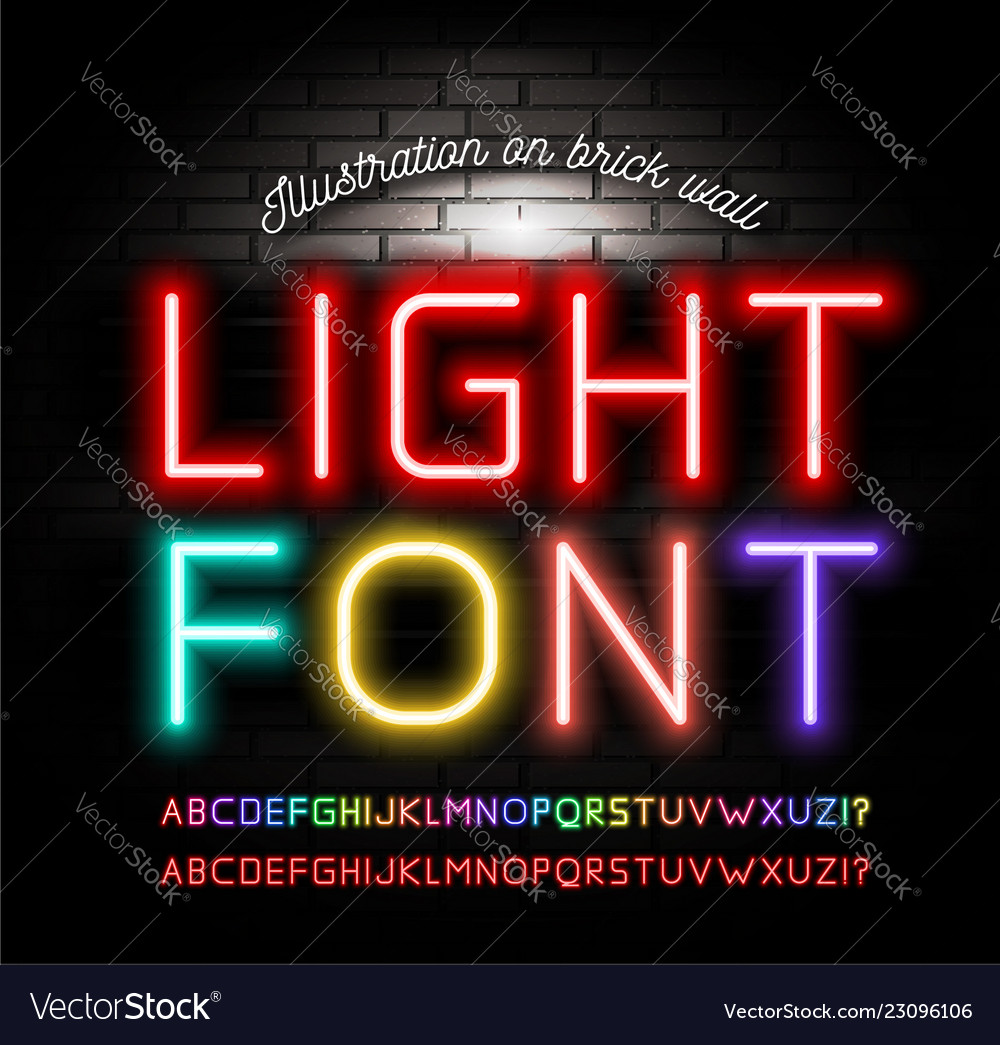 Light neon fonts on brick wall background