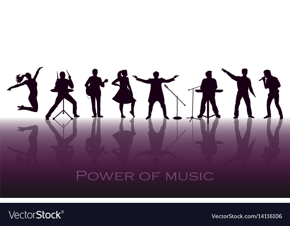 Power of music concept set of black silhouettes