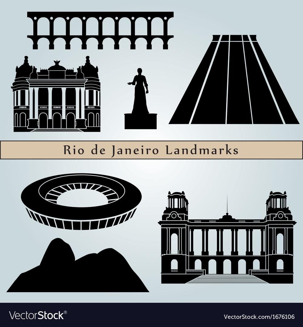 Rio de Janeiro landmarks and monuments vector image