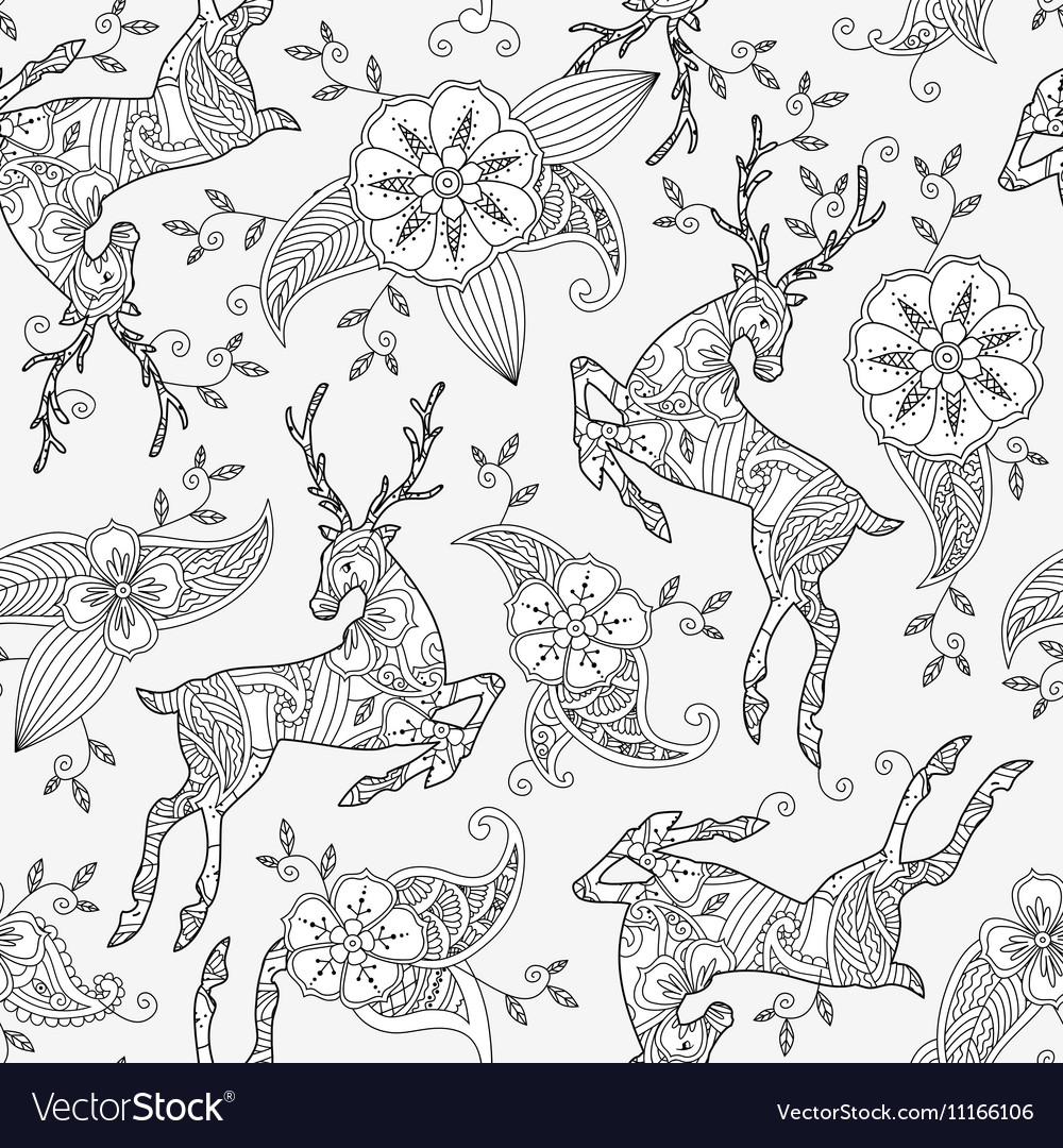 Seamless pattern with running deer flying and