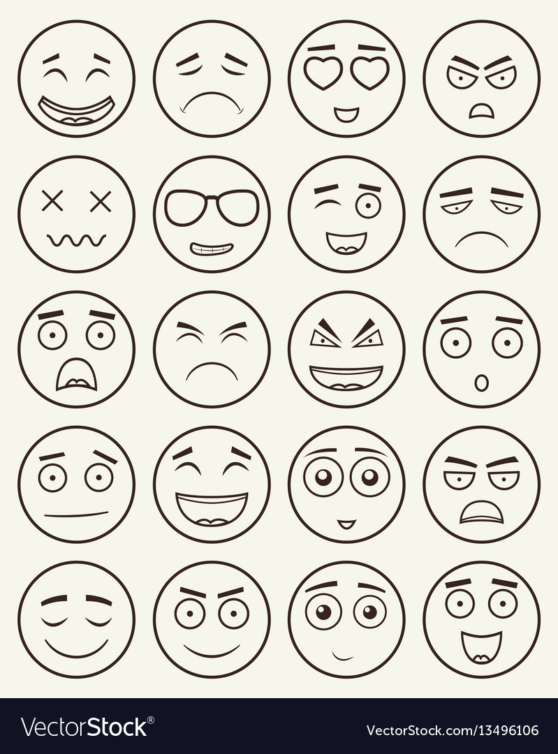 Set of outline emoticons emoji isolated on white