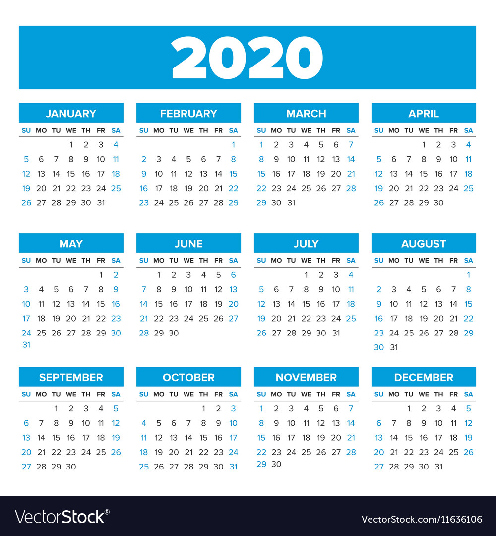 2020 Flourish Mini Calendar: Simple 2020 Year Calendar Royalty Free Vector Image