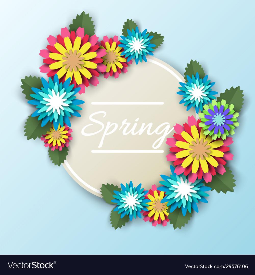 Spring floral round frame paper cut