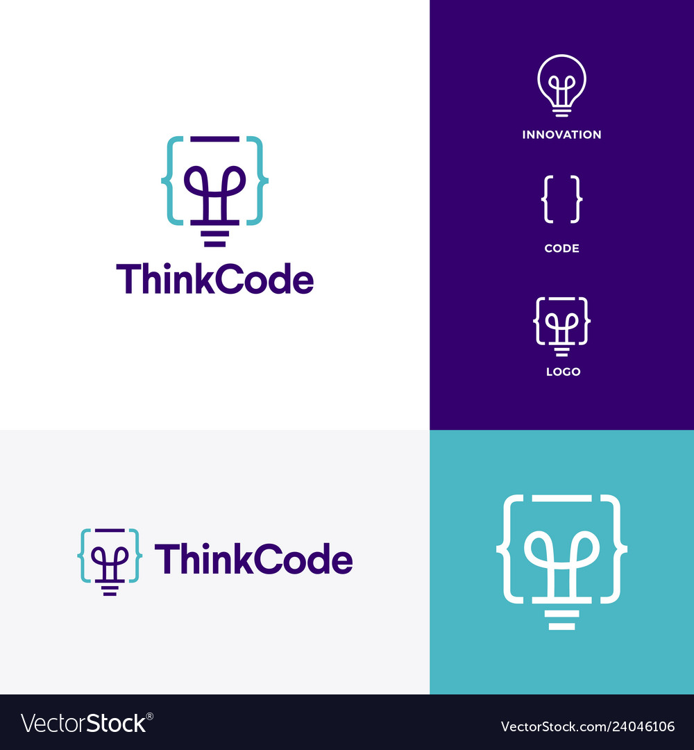 Think code bulb innovation smart logo icon