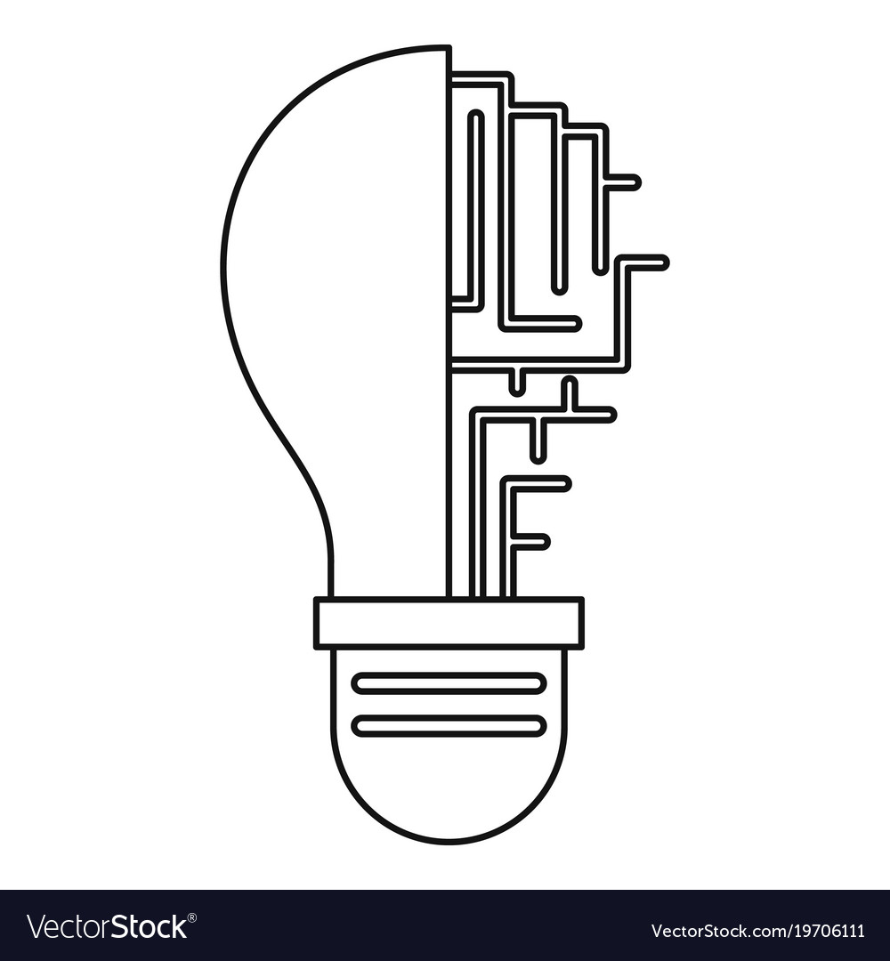 circuit board inside light bulb icon outline vector image