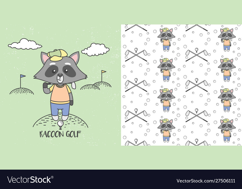 Cute raccoons playing golf and seamless pattern