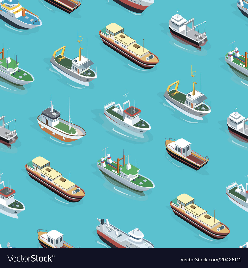 different boats pattern royalty free vector image