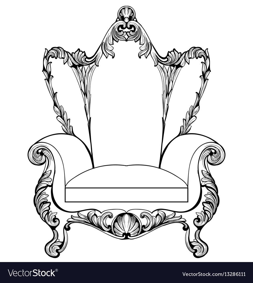Exquisite fabulous imperial baroque armchair vector image