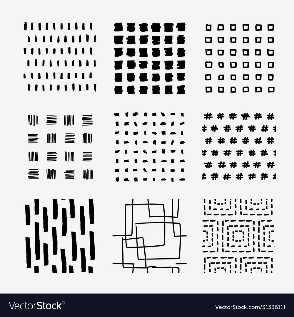 Hand draw square pattern swatch set