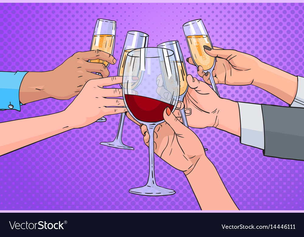 Hands group clinking glass of champagne and red vector image