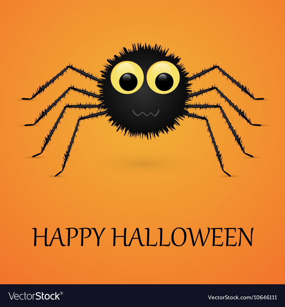 Happy Halloween orange background with spider vector image