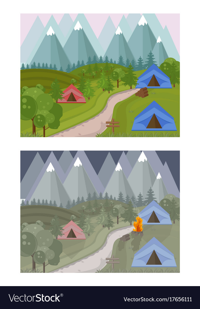 High mountains camping background day and vector image