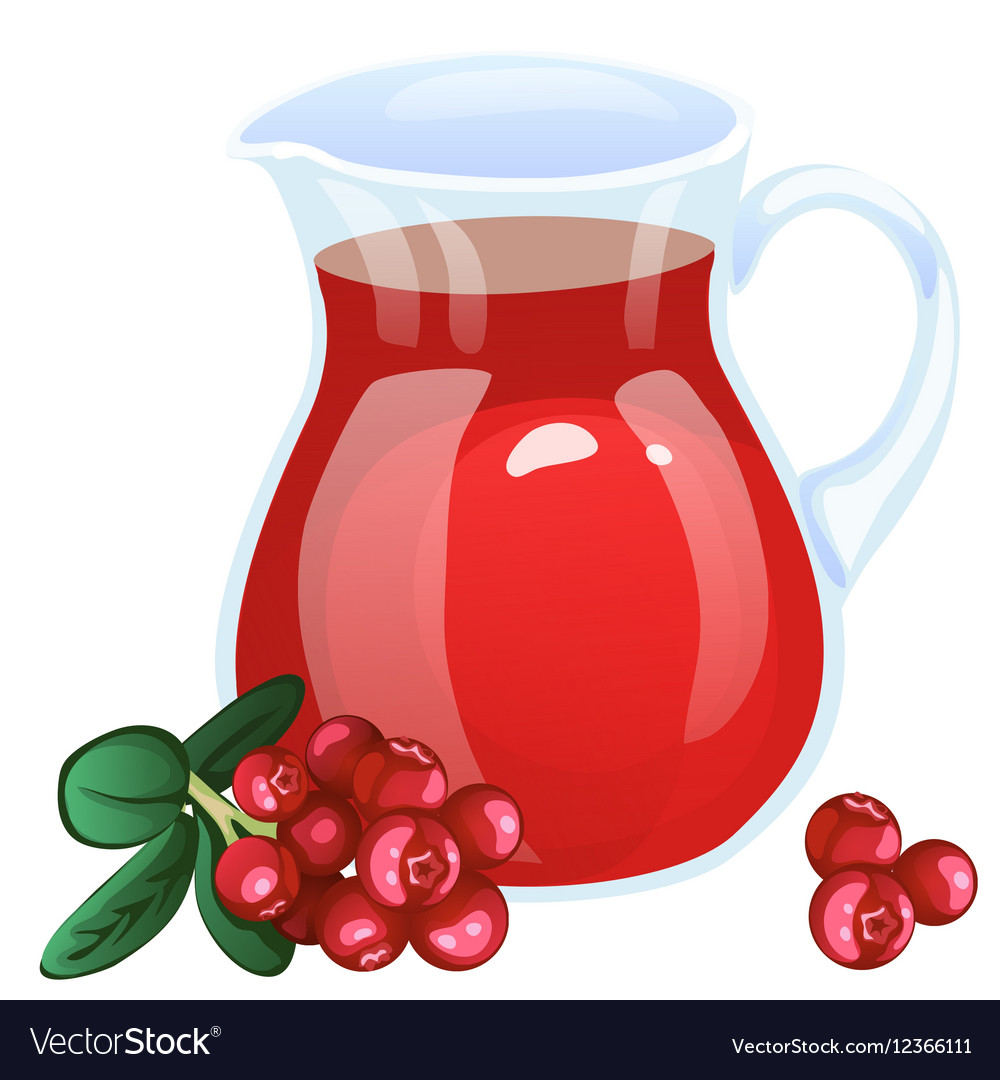 Jug with currant compote Cartoon style