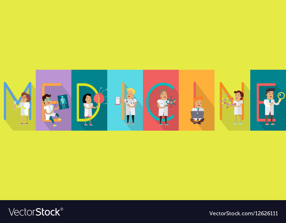 Medicine Science Banner Human Characters in Gowns vector image