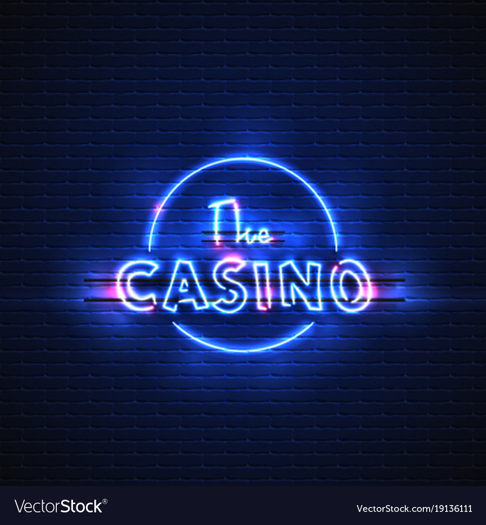 Neon banner casino glowing electric stand