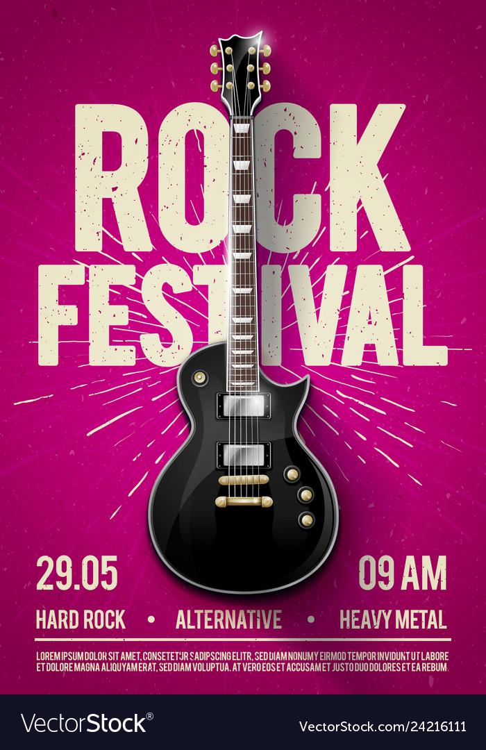 Pink rock festival concert party flyer or poster