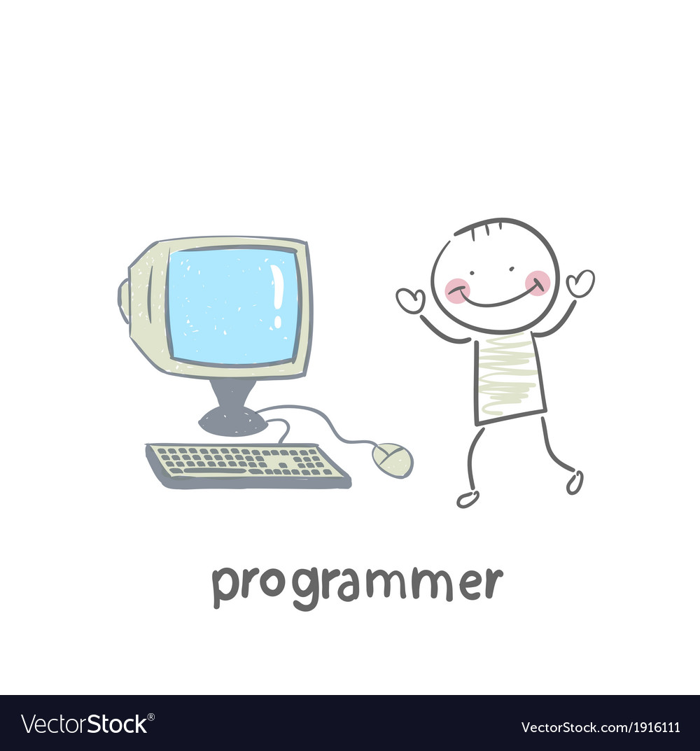 Programmer stands next to the computer vector image