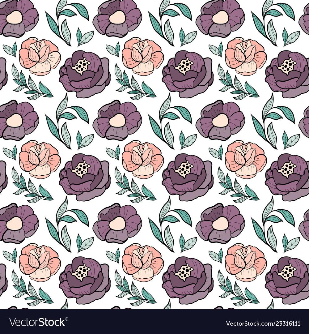 Roses flower seamless pattern