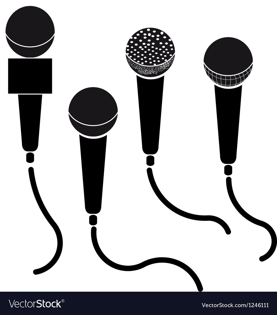 Set of microphones black silhouette isolated on