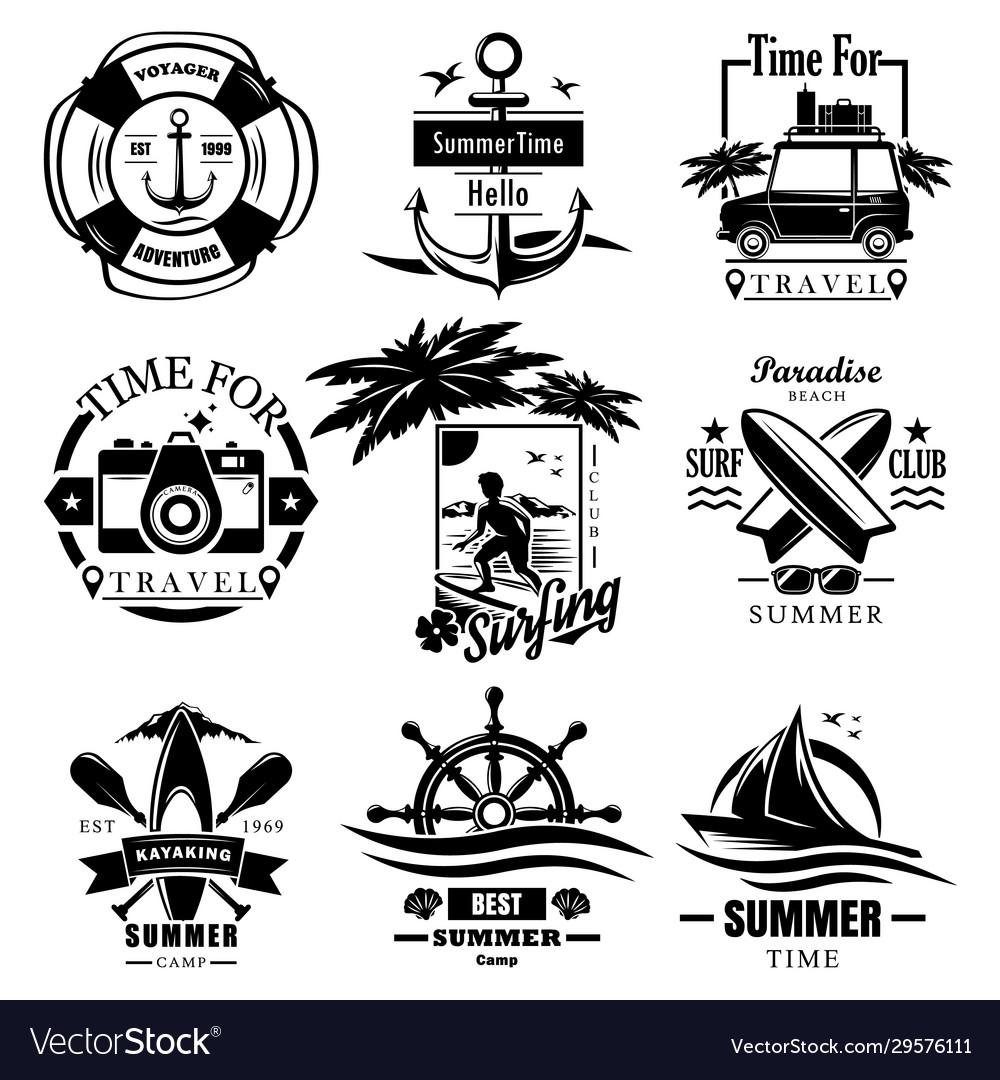 Set summer time vintage logos labels