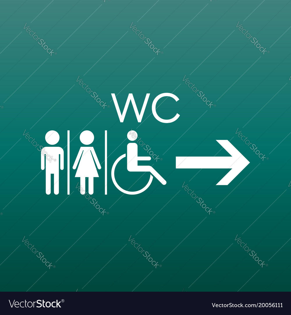 Wc toilet flat icon men and women sign for