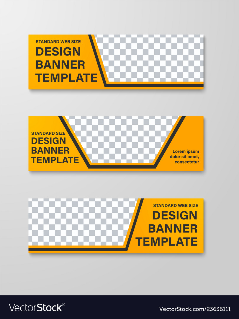 Yellow web banner templates with place for photo