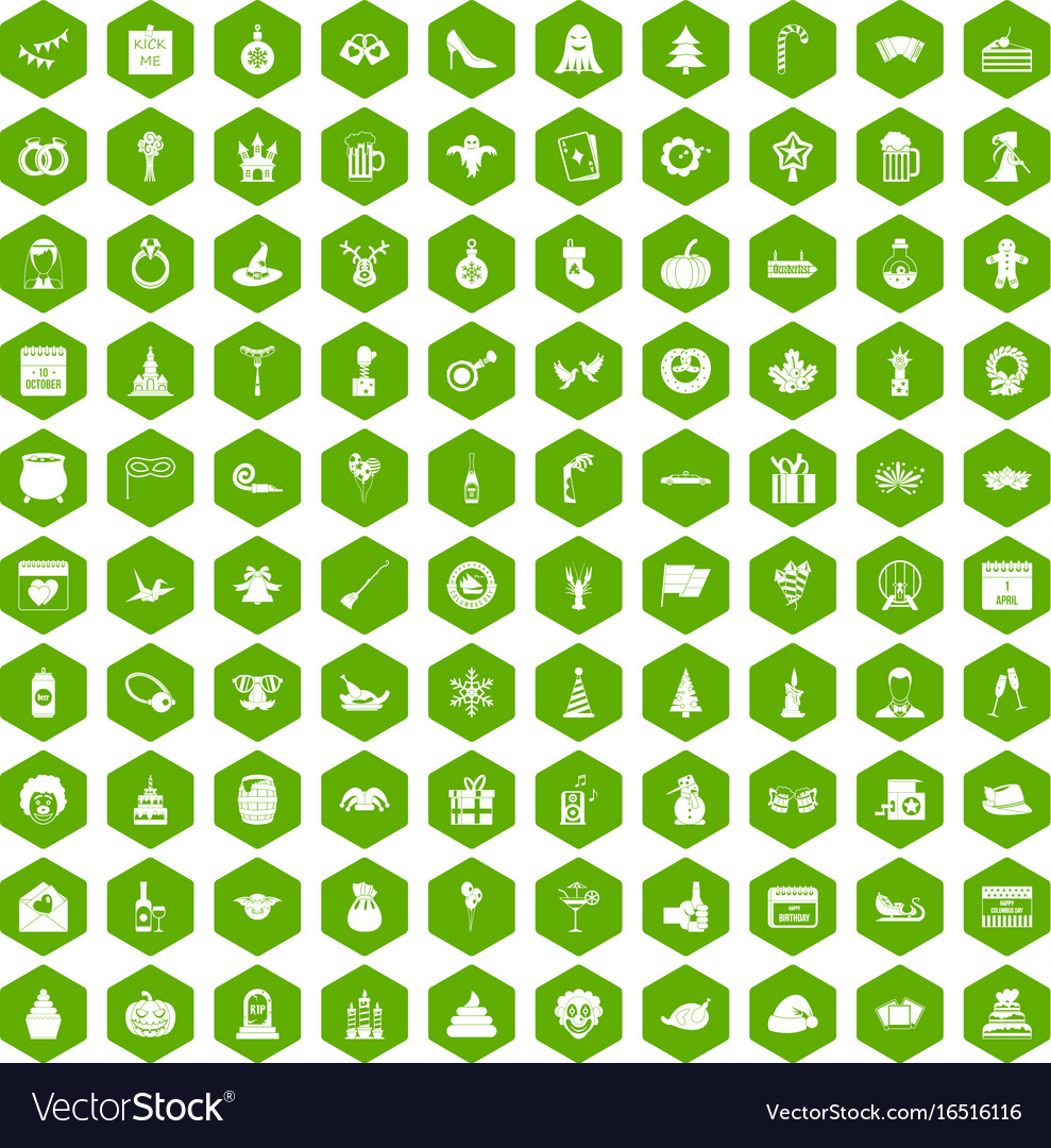 100 holidays icons hexagon green