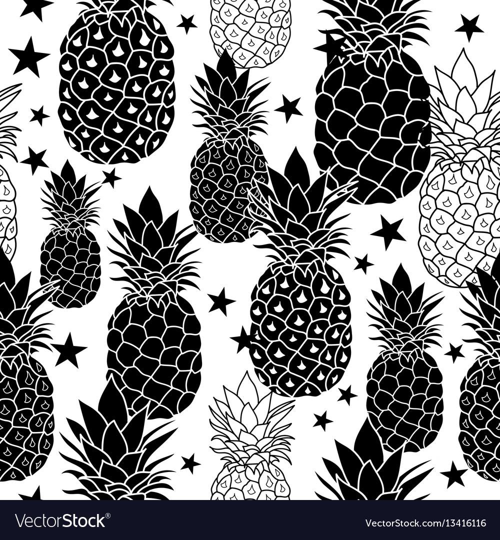 Balck and white hand drawn pineapples
