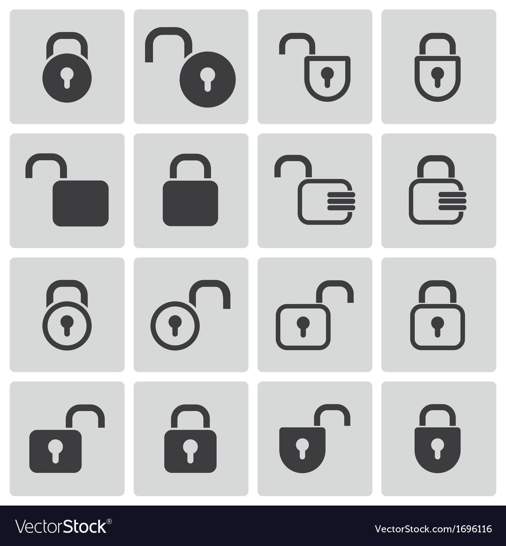 Black lock icons set
