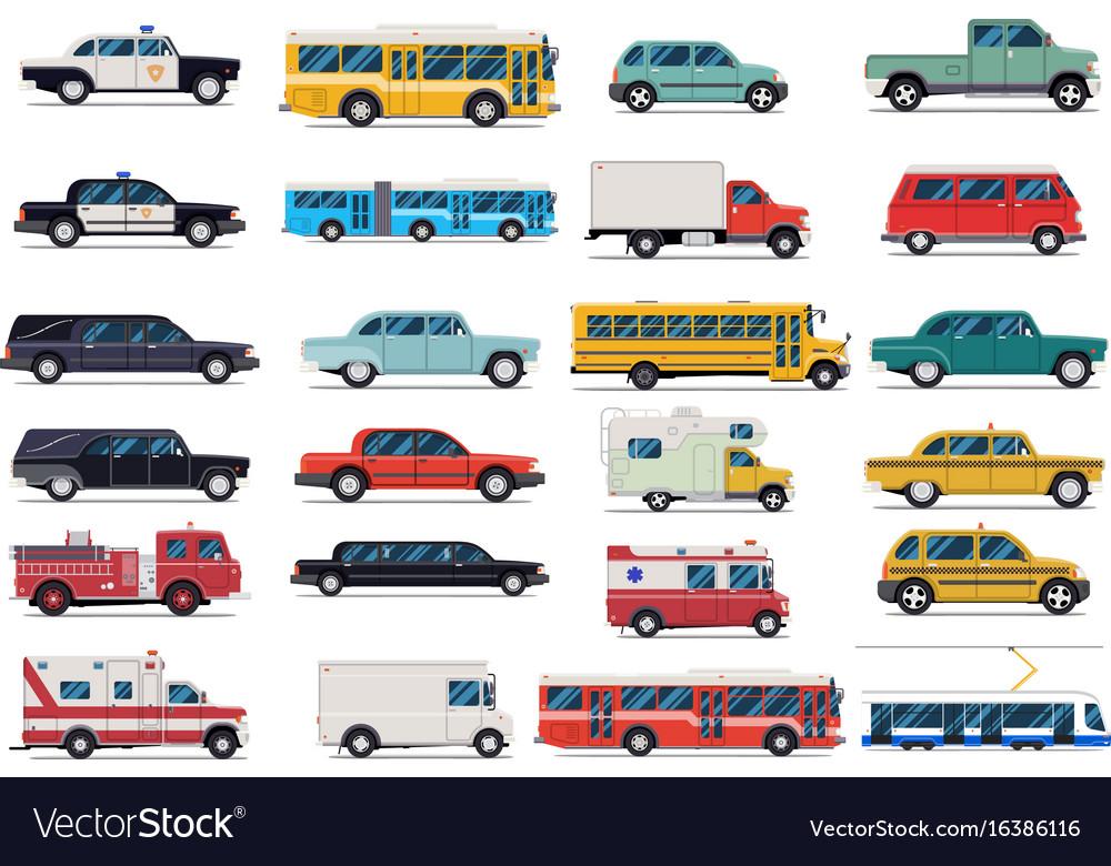 City transport set flat design
