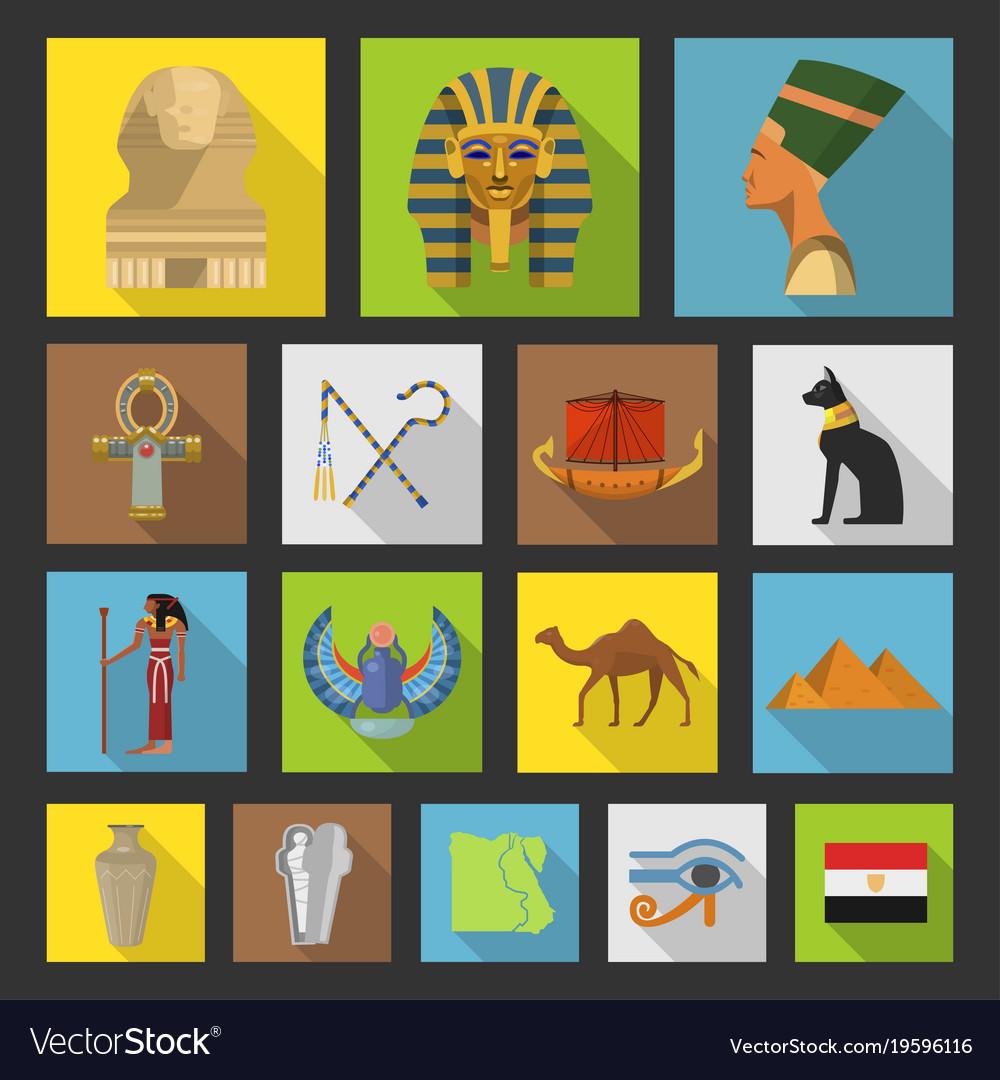 Egypt travel icon collection