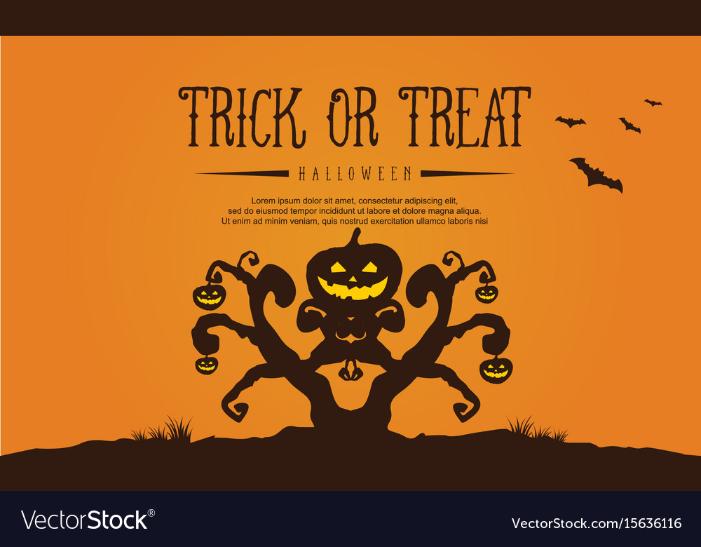Halloween with tree and pumpkin greeting card vector image