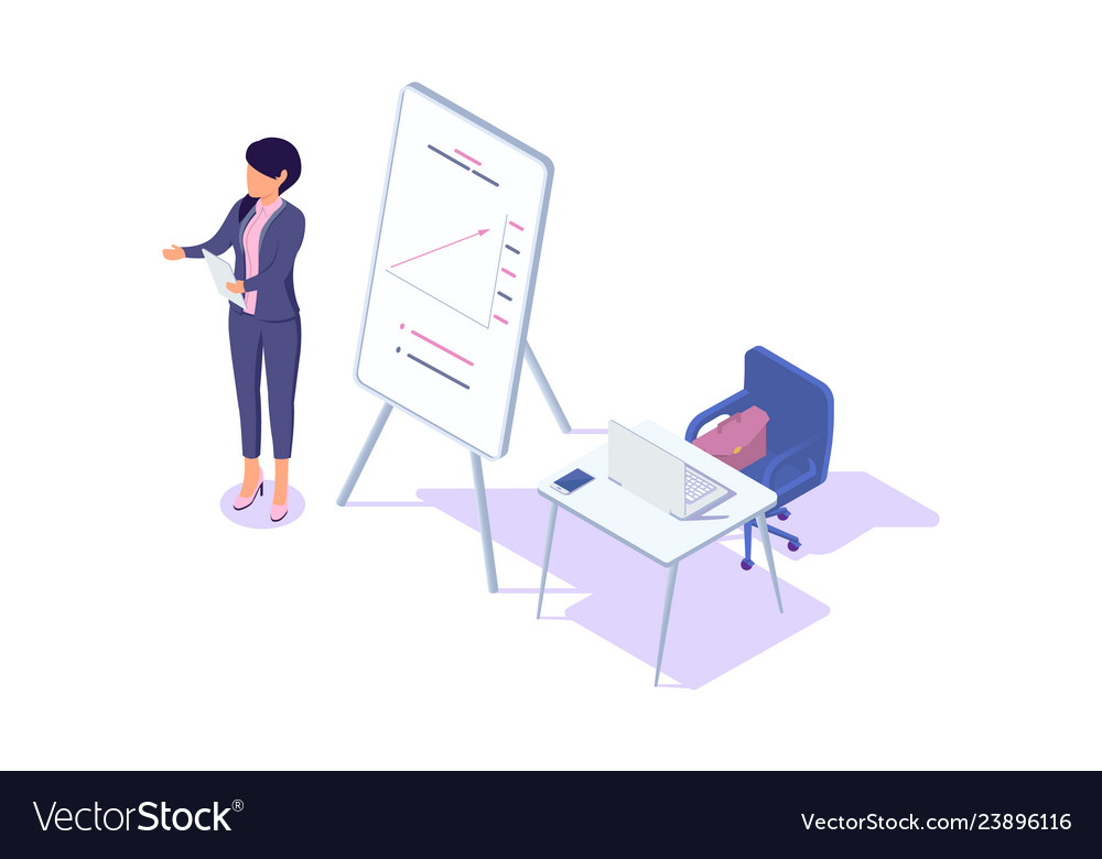 Isometric 3d young businesswoman presentation