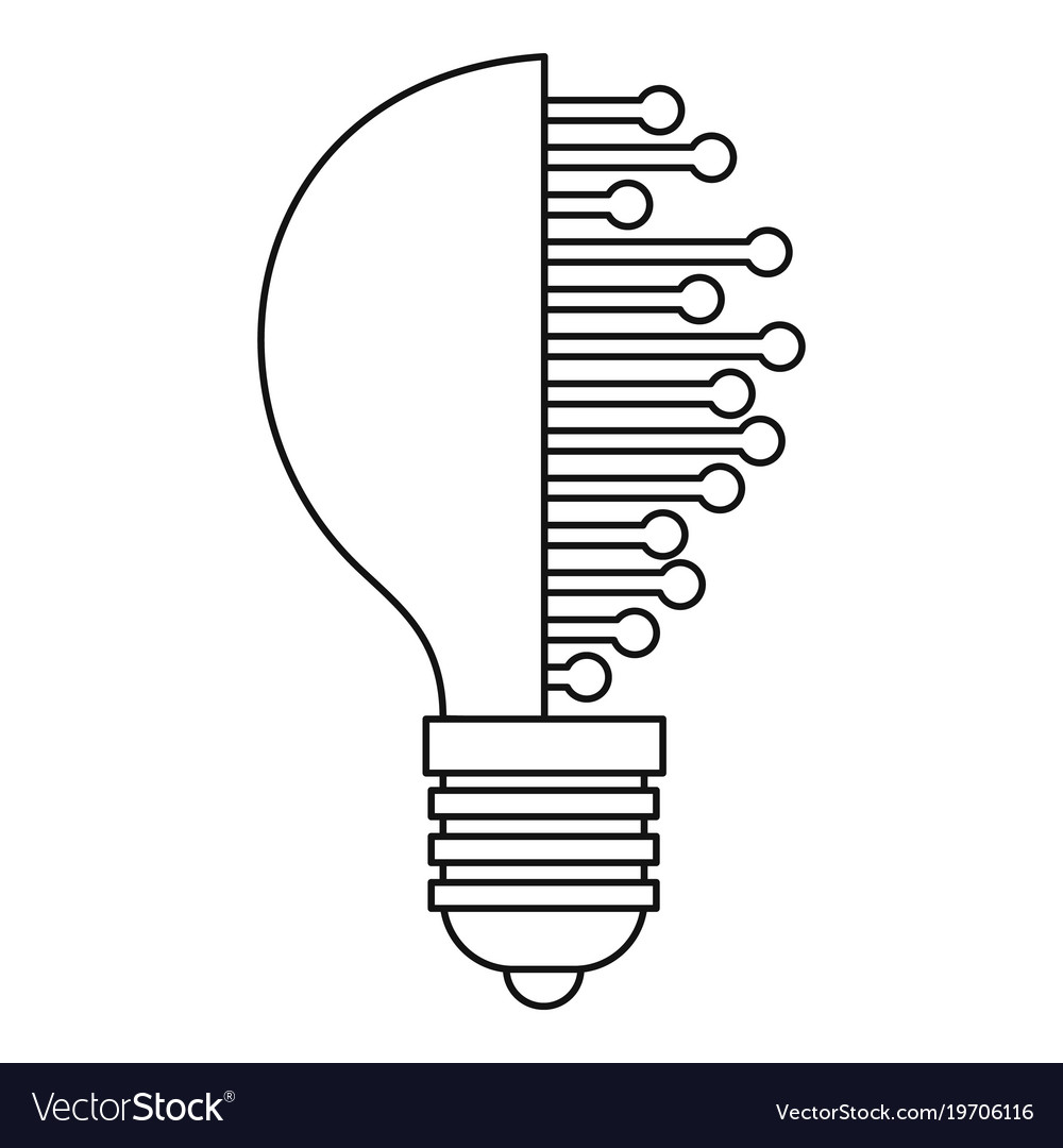 Lightbulb with microcircuit icon outline