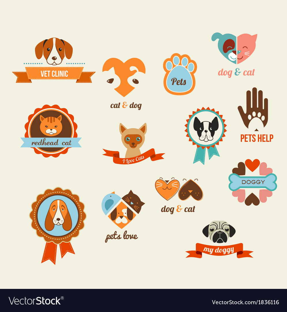 Pets icons - cats and dogs elements