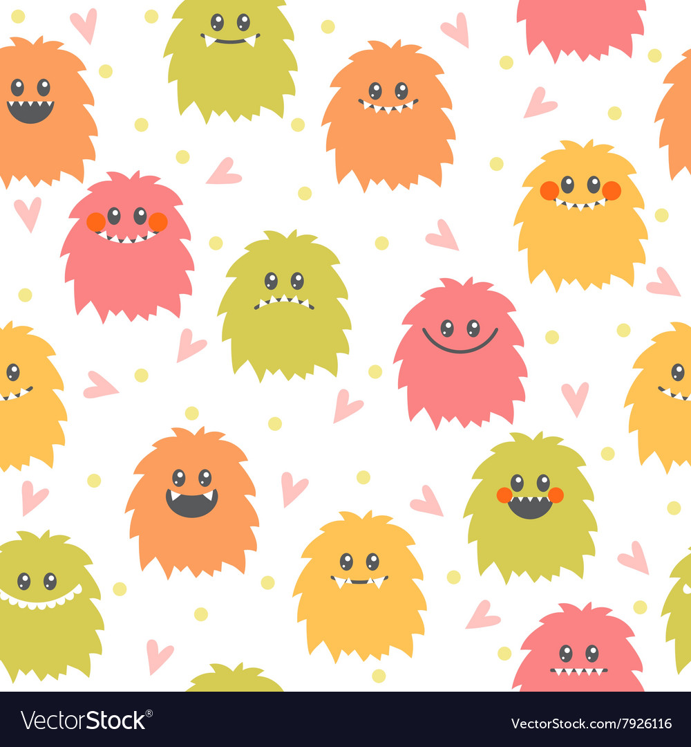 Seamless pattern with cartoon smiley monsters