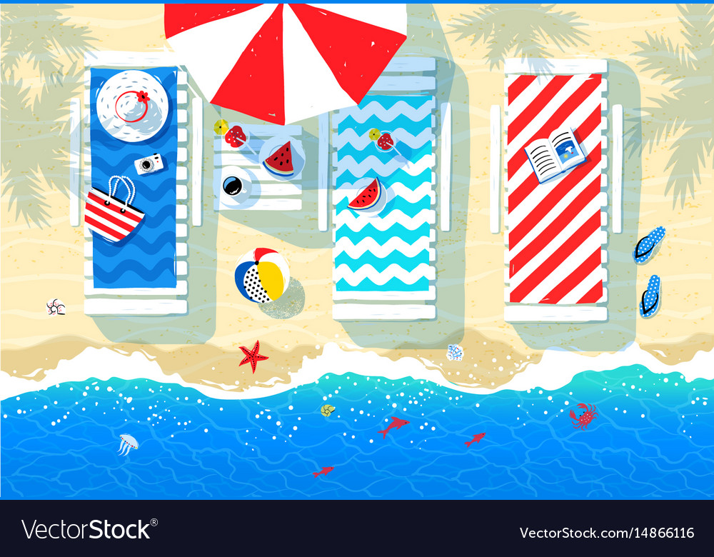 Summer of sun beds vector image
