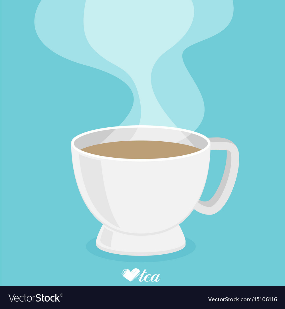 tea cup with smoke flat royalty free vector image rh vectorstock com tea cup vector free download tea cup vector png