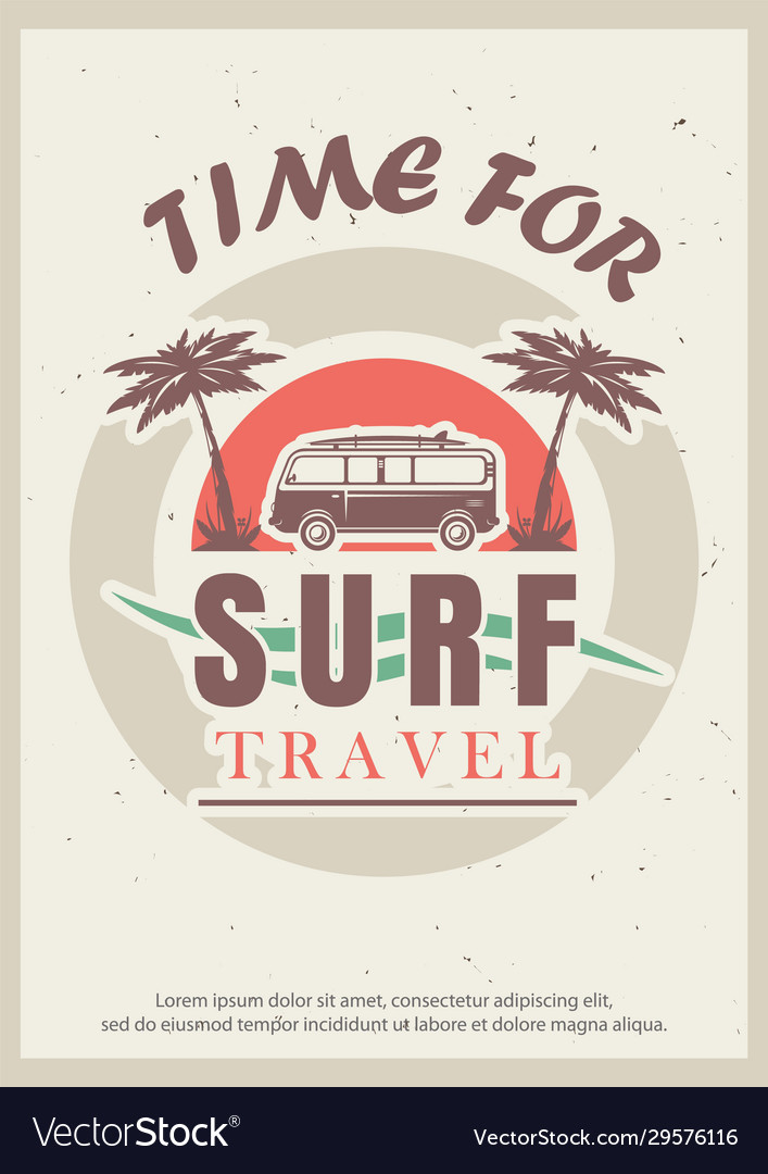 Time for surf retro poster design template