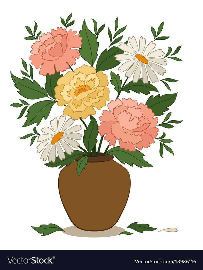 Vase with flowers vector image