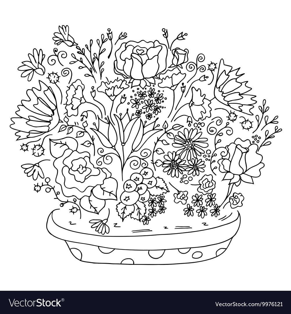 Beautiful Doodle Art Flowers Royalty Free Vector Image