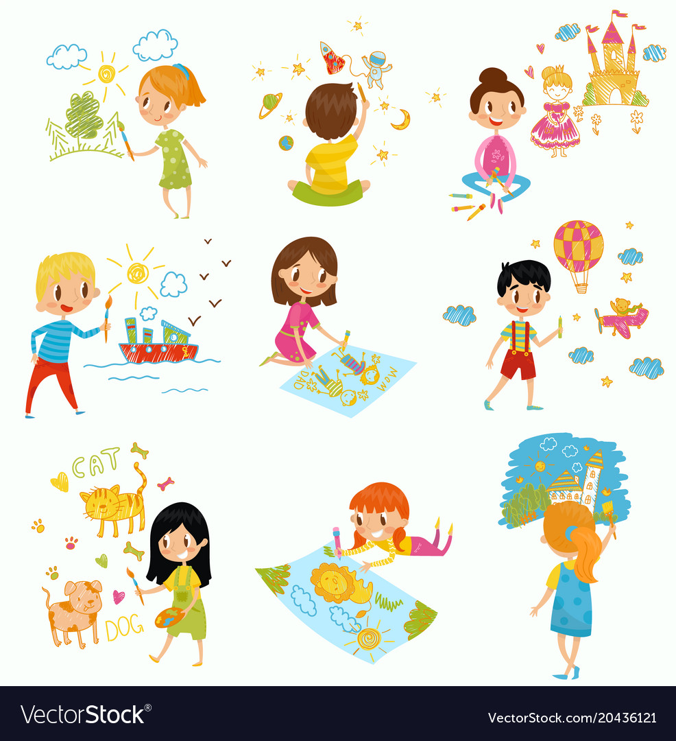 Cute Little Boys And Girls Drawing With Color Vector Image