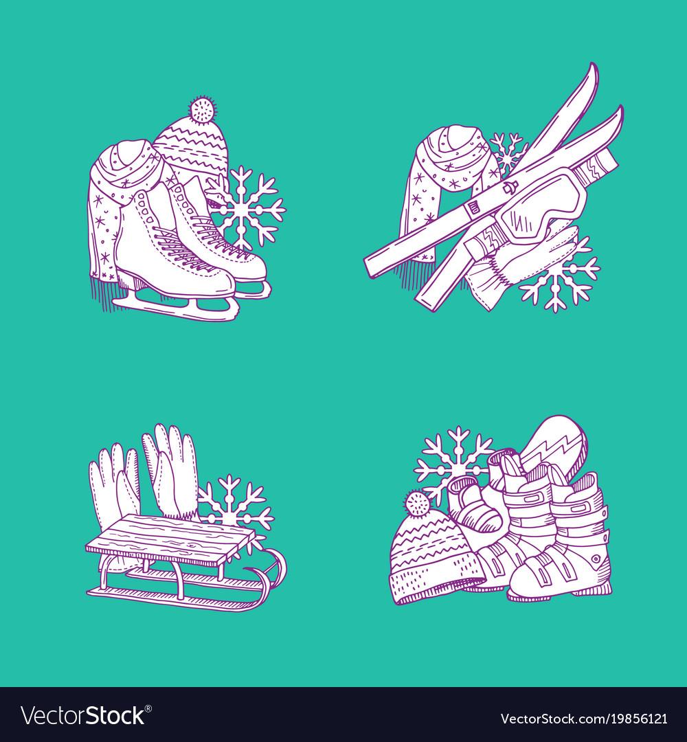 Hand drawn winter sports equipment piles