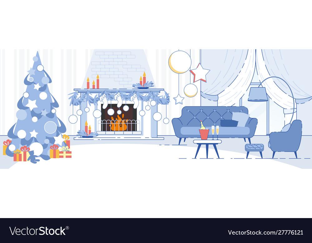 Home interior christmas decorations flat